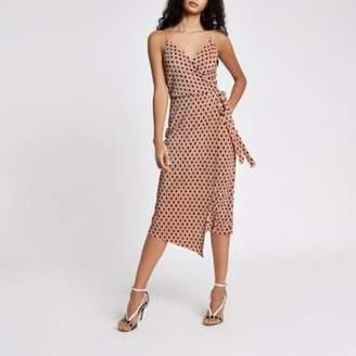 River Island Womens Pink plisse spot wrap midi slip dress