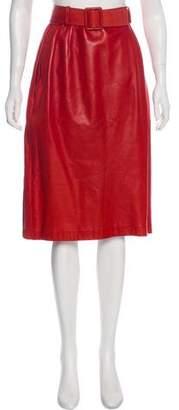 Bill Blass Belt-Accented Knee-Length Skirt