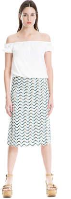 Max Studio eyelash embroidered voile skirt