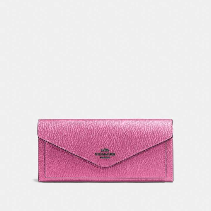 Coach New YorkCoach Soft Wallet - DARK GUNMETAL/METALLIC BLUSH - STYLE