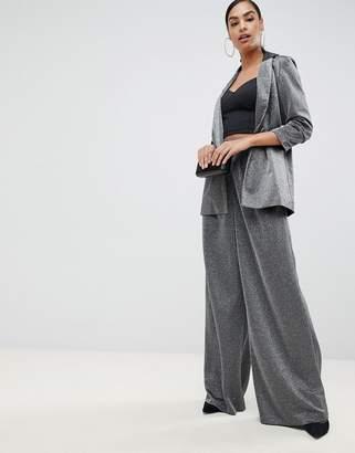 Asos Design DESIGN metallic wide leg pants