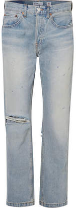 RE/DONE Grunge Distressed High-rise Straight-leg Jeans - Light denim