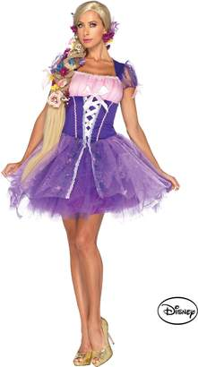 Leg Avenue Disney Rapunzel Costume Peasant Dress with Glitter Skirt with Tulle Overlay