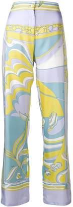Emilio Pucci Mirei Print Wide Leg Silk Trousers