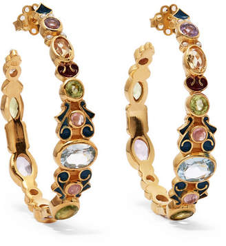 Papi Percossi Gold-plated And Enamel Multi-stone Hoop Earrings