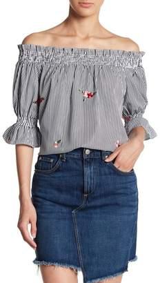 Lush Stripe & Floral Print Off-the-Shoulder Blouse