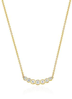 Johnny Was 14K Gold 7 Sapphire Crescent Necklace