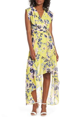 6ebd82eba6b Eliza J Surplice High Low Chiffon Maxi dress