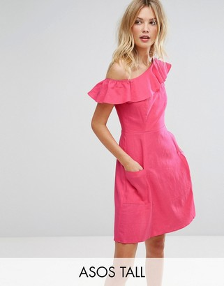 ASOS Tall ASOS TALL One Shoulder Ruffle Front Mini Sundress $51 thestylecure.com