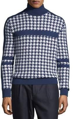 Stefano Ricci Men's Houndstooth Cashmere Turtleneck Sweater