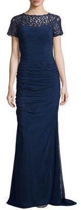 La Femme Ruched Lace-Trim Gown, Navy $598 thestylecure.com