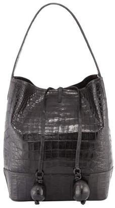 Nancy Gonzalez Medium Crocodile Bucket Bag w/ Rings