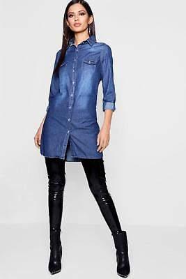 boohoo NEW Womens Slim Fit Long Sleeve Denim Shirt Dress in