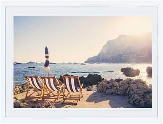 Gray Malin Three Chairs La Fontelina Capri (Framed)