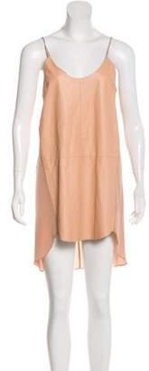Mason Sleeveless Leather & Silk-Paneled Dress