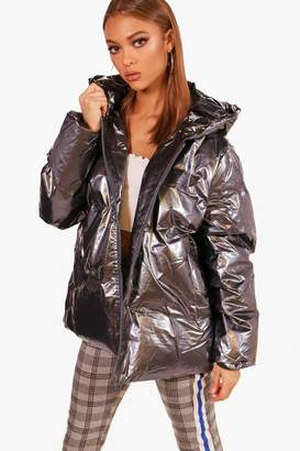 boohoo Millie Oil Slick Padded Jacket