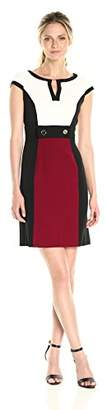 Sandra Darren Women's Cap Sleeve Color Block Crepe Sheath Dress