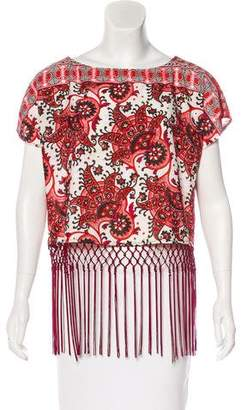 MICHAEL Michael Kors Fringe-Trimmed Short Sleeve Top