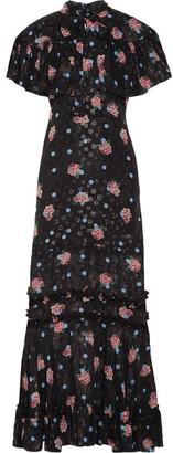Anna Sui - Ruffle-trimmed Printed Fil Coupé Silk-blend Maxi Dress - Black