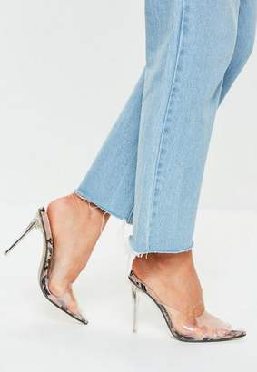 Missguided Brown Snake Clear Closed Toe Mules