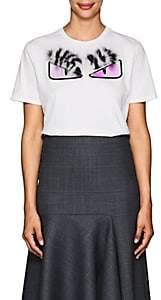 Fendi Women's Buggies Fur & Cotton T-Shirt - White