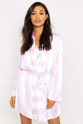 boohoo Wide Candy Stripe Robe