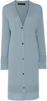 Sally LaPointe Ribbed Cashmere-Blend Cardigan