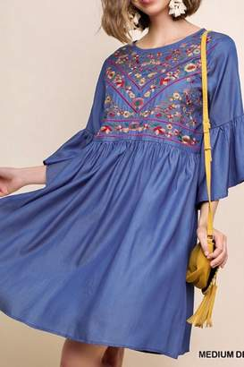 Umgee USA Embroidered Bell-Sleeve Dress