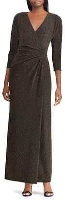 Ralph Lauren Metallic Jacquard Surplice Dress