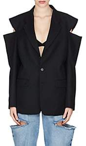 Maison Margiela Women's Cutout Wool Oversized Three-Button Blazer - Black