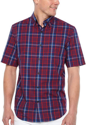 M·A·C Big Mac Short Sleeve Plaid Button-Front Shirt-Big and Tall
