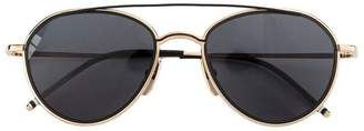 Thom Browne Eyewear Black Aviator Sunglasses