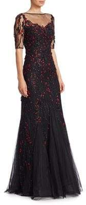 Teri Jon by Rickie Freeman Short-Sleeve Lace Applique A-Line Gown