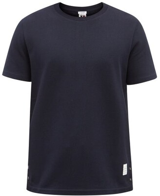 Thom Browne Tri Stripe Cotton Pique T Shirt - Mens - Navy