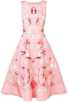 Oscar de la Renta sleeveless embroidered dress