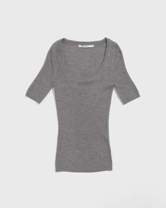 Alexander Wang Heather Grey Wash & Go Skinny Rib Short Sleeve Top