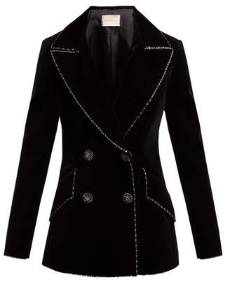 Christopher Kane Double Breasted Bead Embellished Velvet Blazer - Womens - Black