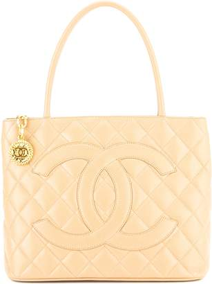 Chanel Beige Quilted Caviar Leather Medallion Tote Bag (Pre Owned)