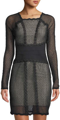 Free People Long-Sleeve Mesh Illusion Mini Dress