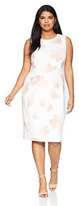 Calvin Klein Women's Plus Size Printed Sheath with Princess Seams Dress