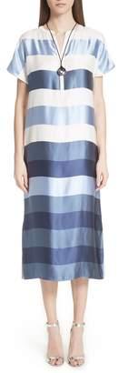 St. John Block Stripe Twill Dress