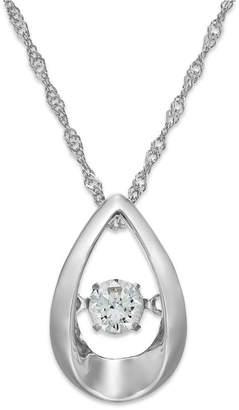 Twinkling Diamond Star Diamond Open Teardrop Pendant Necklace in 10k White Gold (1/5 ct. t.w.)