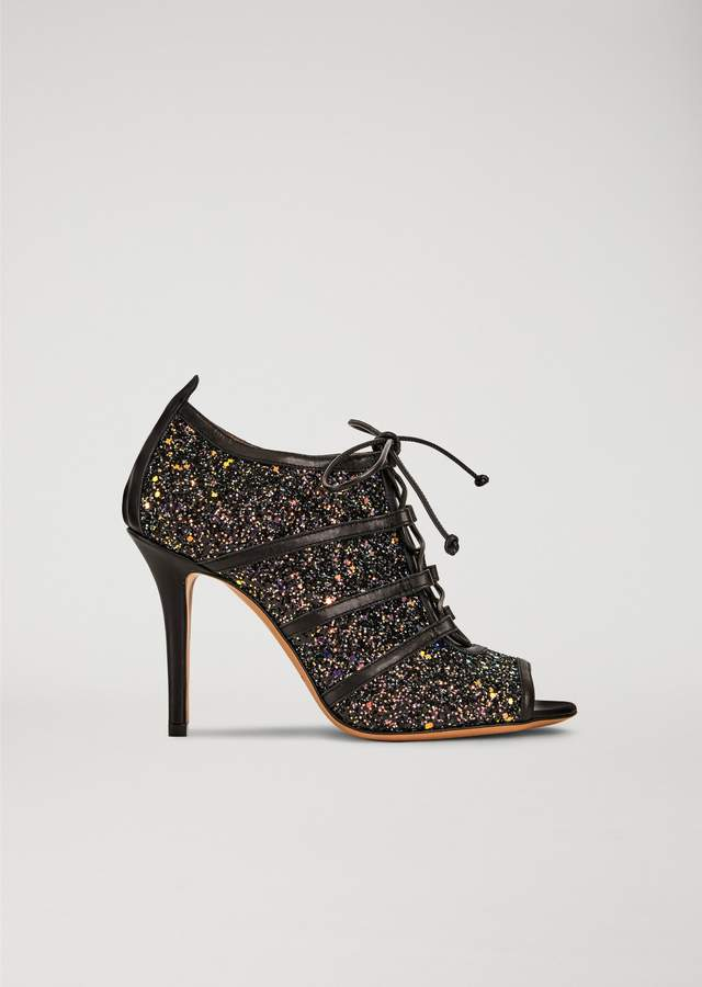 EMPORIO ARMANI open-toe leather brogues with glitter