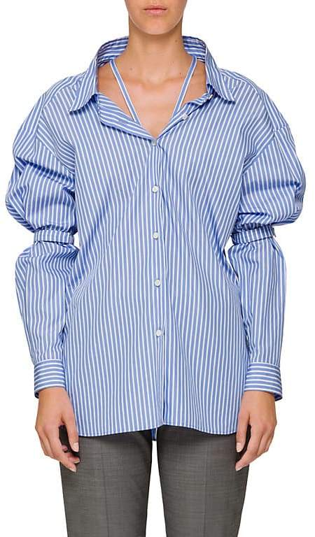 Prada Women's Striped Poplin Off-The-Shoulder Shirt