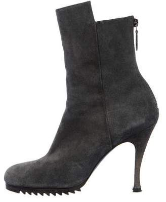 Balenciaga Suede Round-Toe Ankle Boots