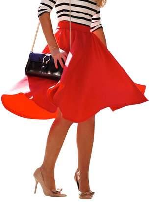 Come On Comeon Women's Pleated Midi Skirt High Waist A-Line Vintage Skirts