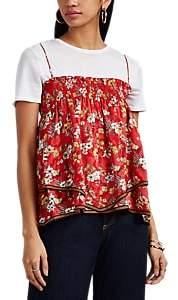 Derek Lam 10 Crosby Women's Smocked Floral Silk-Blend Jacquard Cami Top - Red