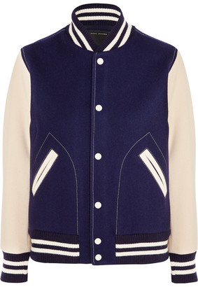 Marc Jacobs - Chenille-embroidered Wool-blend Felt Bomber Jacket - Navy $850 thestylecure.com