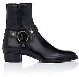 Saint Laurent Men's Wyatt Wrinkled Leather Boots - Black