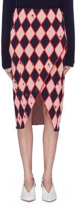 Cédric Charlier Strass diamond jacquard knit mock wrap skirt